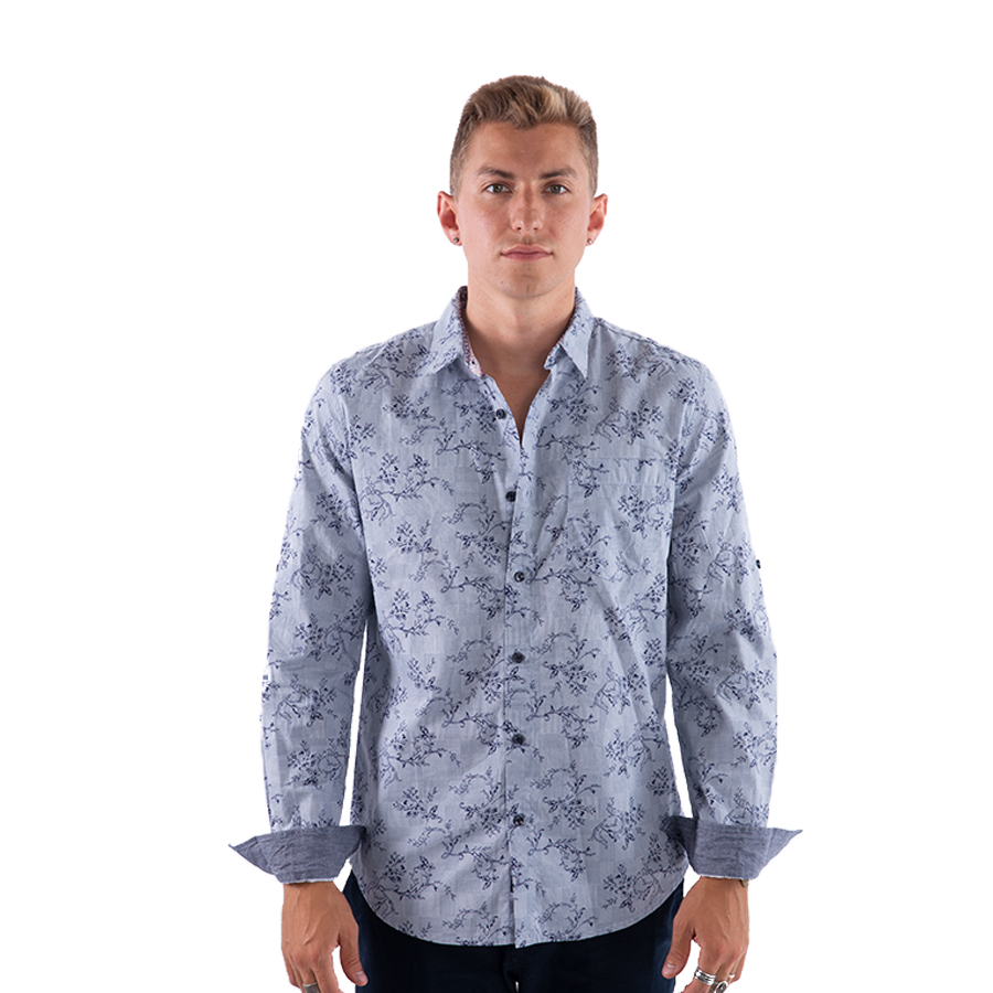 0fe490bcb9fa Home/Men/WOVEN/LONG SLEEVE. Men's Button Down Shirt With Floral Print and Roll  UP Sleeve