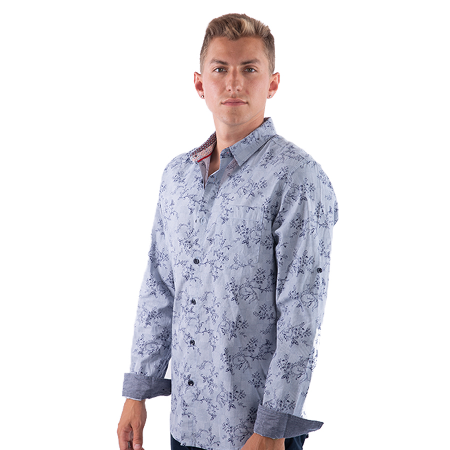 374d745605b2 Men's Button Down Shirt With Floral Print and Roll UP Sleeve - ::Ladrft